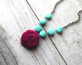 Magenta Rosette and Turquoise Necklace
