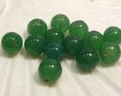 1 DOZ....Green Aventurine Smooth Round Gemstone BEADS....8mm....BB