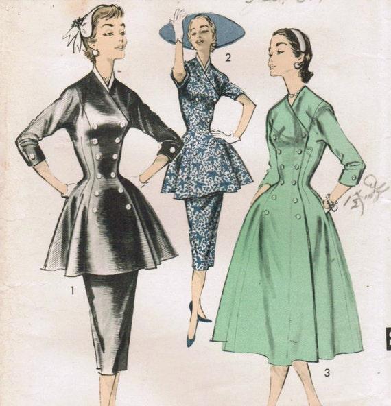 1950s Advance 7800 American Designer Vintage Sewing Pattern Size 18 Bust 36 Tunic Suit, Coat Dress