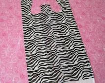50 Plastic Bags, Tee Shirt Bags, T Shirt Bags, Zebra Animal Print Bags, Plastic T Shirt Bags, Bags with Handles, Shopping Bags 8x16
