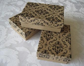 20 Gift Boxes, Damask Print, Black Damask Print, Jewelry Boxes, Kraft Boxes, Bridesmaid Gift Boxes, Wedding Favor Boxes, Cotton Filled 3x2x1