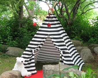 Striped Teepee Play Tent, Black Stripes, 6 Foot Poles Included, Custom Order