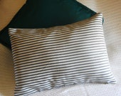 CLOSEOUT, Toss,Throw, French Ctry Waverly Ticking Pillow Cover, Charcoal n White stripes, Lumbar 16x12 or 14x18.