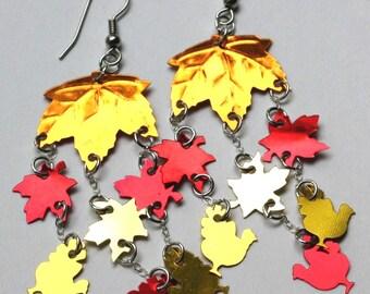 Thanksgiving Turkey Earrings Autumn Maple Leaf Earrings Fall Confetti Dangles Plastic Sequins