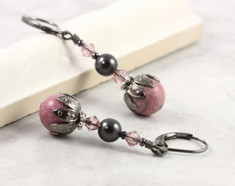 Gemstone Earrings Pink Rhodonite Gray Black Pearl Gunmetal Crystal Boho Jewelry Bohemian Earrings
