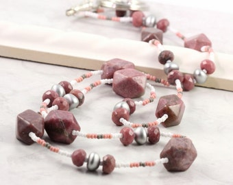 Pink ID Lanyard Gray Badge Holder White ID Necklace Gemstone Leash Beaded Lanyard Office Fashion Key Holder Gift for Coworker Rhodonite