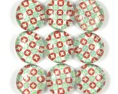 Fridge Marble Magnets or Push Pins Set- Red and Teal Geometric Diamonds in Circles