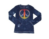 Tie Dye Shirt in Navy with a Rainbow Peace Sign- Girls and Womens Sizes Available