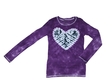 Tie Dye Shirt in Purple with a Tie Dye Zebra Heart- Girls and Adult Sizes Available
