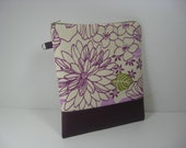 YEAR END SALE:  Clutch Purse, Leather Bottom Zip Pouch - Purple Fusion