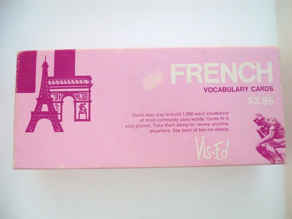 box of vintage french flash cards