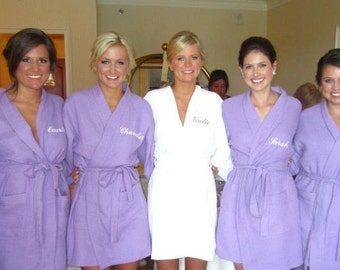 Personalized Purple Waffle Robe Bridesmaids Gifts