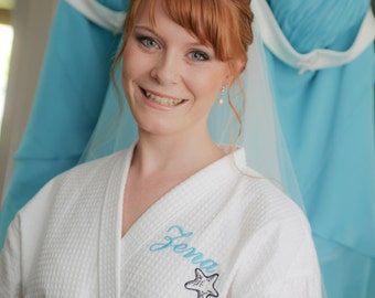 Monogrammed Starfish Bridesmaid Robes, Bridesmaids Robes, Turquoise Robes, c