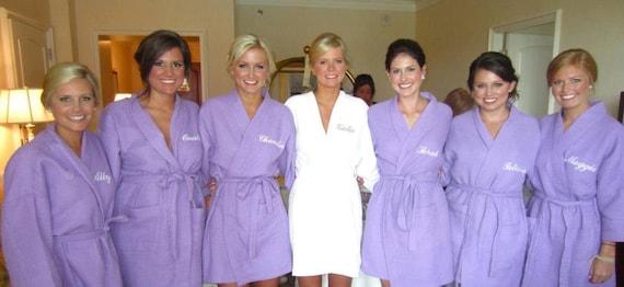 Personalized Purple Waffle Robe Bridesmaids Gifts waffle weave robes