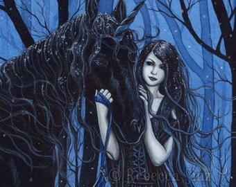 Midnight Travelers 13x19 Print Gothic Fairy Unicorn Winter Snow Fantasy
