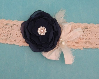 Wedding Garter navy and Ivory garter, lace garter, G021, bridal garter accessory, toss garter