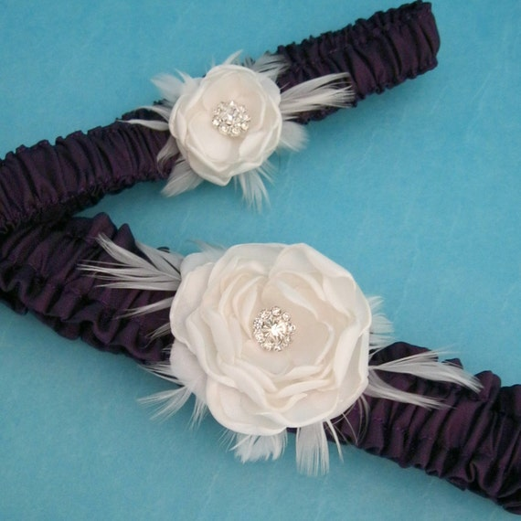 Bridal Garter set, Eggplant, Purple, Ivory, Wedding Garter, Set G062, wedding accessories, garters