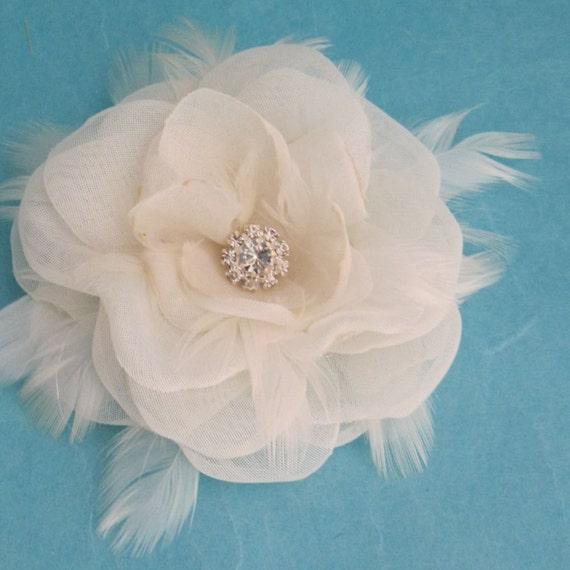 Weddings accessories, Hair, Bridal hair clip, ivory, rose 3 inch, Organza, Feather, Hair clip K083, wedding accessories