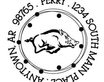 Custom Address Stamp - Style: Razorback Perry