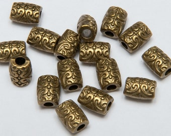 32 Curve Pattern Tube Beads in Antiqued Brass Tone, Lead/Nickel Free Base Metal Beads, M0133-AB