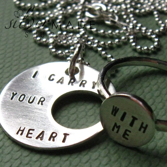 I carry your heart pendant and ring set (intertwine)
