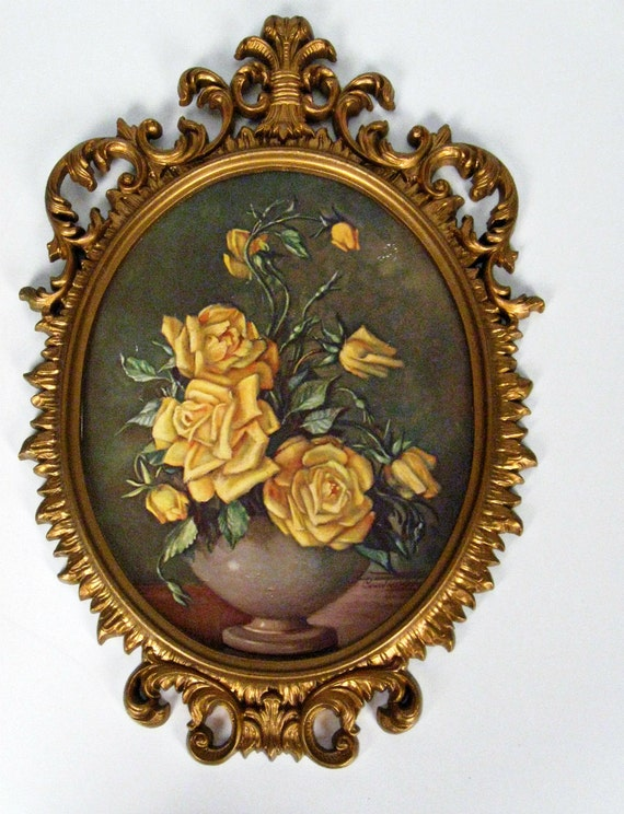 vintage framed yellow roses oval print - Countess Zichy - Hollywood Regency - 1950s-1960s