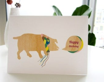 Modern Greeting Card, birthday celebration, little pig in a scarf, colorful, handmade