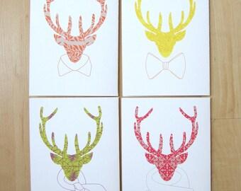 Elk Blank Cards, Note Cards, Four Pack, Colorfully Patterned Cards, Elk Modeling Neck Wear, Handmade