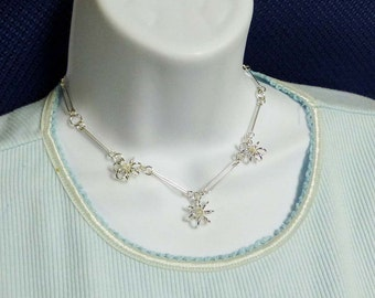 Sterling Silver Flower Link Adjustable Necklace 16 1/2 Inches in Length