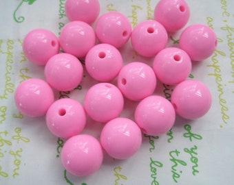 Pink Bubblegum Plastic Beads 8pcs Size 16mm