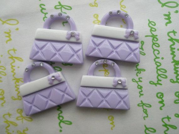 Barbie Bag cabochons Set 4pcs Pastel purple