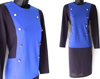 80s Blue and Black Color Block with Silver Buttons Tunic Dress M