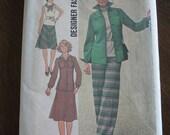 Vintage 1976 Simplicity Pattern 7711 Designer Fashion Jacket, Top, Skirt & Pants Size 12 Unused