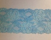 WIDE Stretch Lace BLUE  F102 -3 1/2 inch -2 yards for 4.19