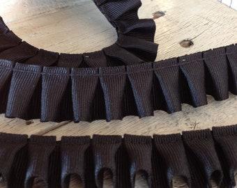 Box Pleated Grosgrain Ribbon BLACK- 2 yards-7/8 inches