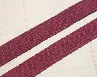 "Twill Tape Trim CRANBERRY - Cotton Twill Ribbon - Sewing Bunting Banners - 1/2"" Wide - 6 Yards"