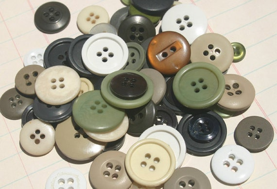Buttons Green Brown White - 100 Round Sewing Button - Woodlands - LAST of BUTTON STOCK