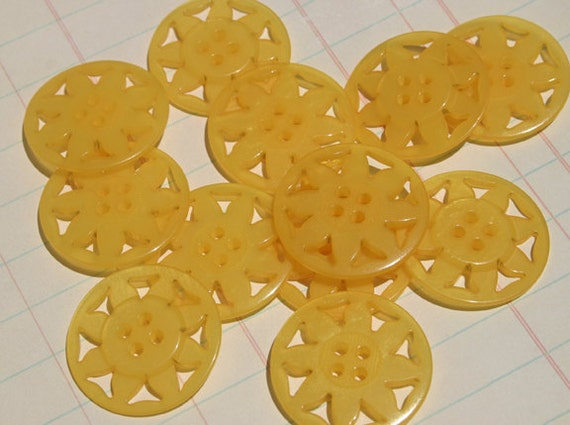 Yellow Pinwheel Buttons -  Sewing Embellishments -  12 Buttons