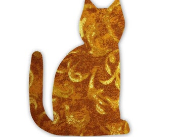 Yellow Cat Fusible Fabric Appliques Cotton Quilting Sewing Collage Die Cut