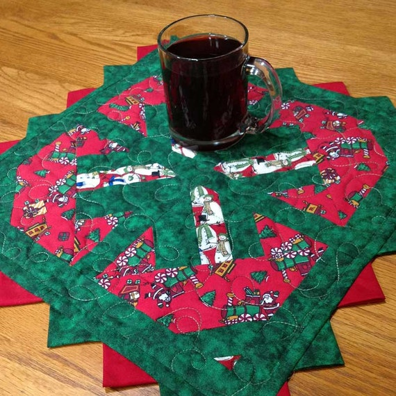 Quilted Christmas Santa Mug Rug Scrappy Pieced