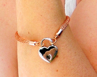6. inch Copper Trichinopoly Slave Bracelet with Heart Padlock