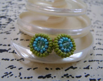 Mermaid Tale Hand Beaded Button Design Earrings OOAK