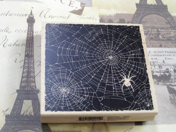 Spider Web Halloween wood mounted Rubber Stamp