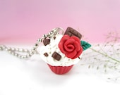 I love You Cupcake Necklace - food jewelry , food necklace, rose jewelry, cupcake jewelry, rose necklace, red rose, chocolate necklace