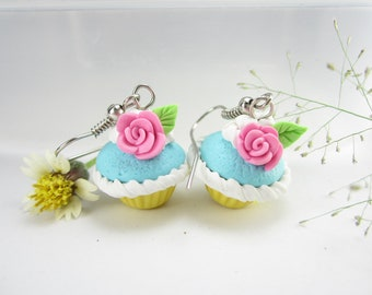 Pink Rose Cupcake Earrings, cupcake jewelry, food earrings, food jewelry, polymer clay, miniature food, roses, cute, kawaii, foodie gift