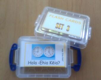 FLASH CARDS (SET 3) - 'Olelo Hawai'i / English -  80 cards plus storage box