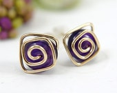 Amethyst post earrings spiral gold filled wire wrapped purple medium