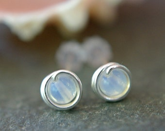Tiny opalite post earrings sterling silver wire wrapped sea opal stud earrings translucent opalescent glass earrings second piercings 5mm