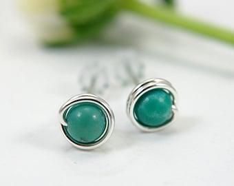 Tiny turquoise post earrings sterling silver wire wrapped stud earrings turquoise gemstone earrings small earrings second piercings 5mm mini