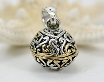 Prayer box sphere pendant locket ornament filigree silver gold tone medium small size round ball magnetic closure 17mm for necklace 1 inch ""